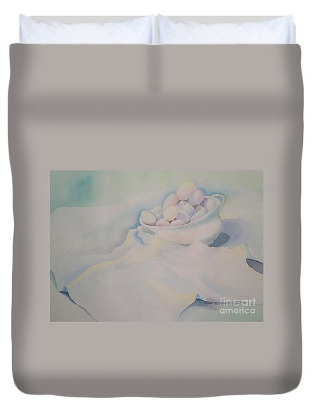 Duvet Cover featuring the painting White On White On White by Teresa Ascone