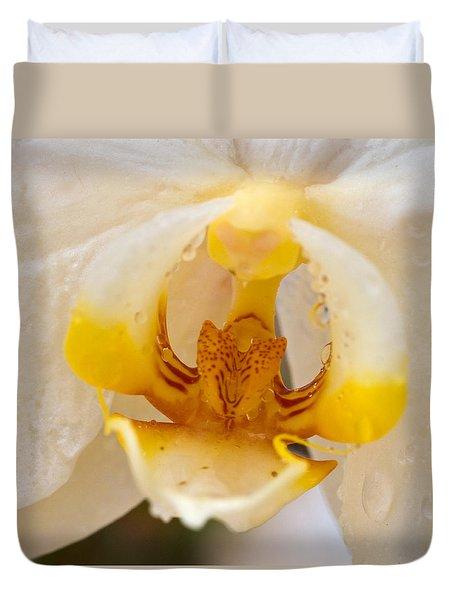 White Orchid Center Duvet Cover