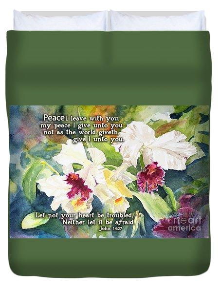 White Orchid John 14 Duvet Cover