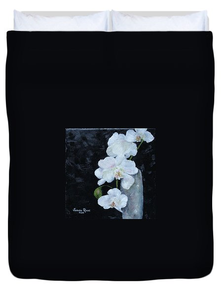 Duvet Cover featuring the painting White Orchid by Judith Rhue