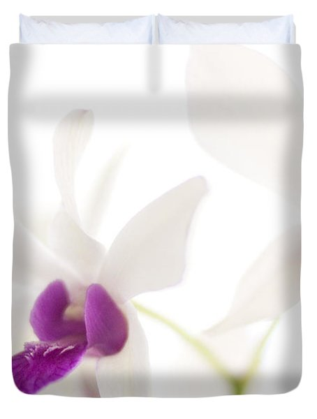 White Orchids Duvet Cover by Bradley R Youngberg