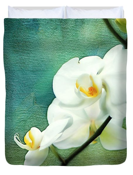 White Orchids Duvet Cover by Darren Fisher