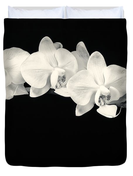 White Orchids Monochrome Duvet Cover
