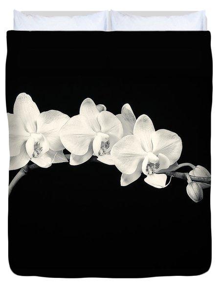 White Orchids Monochrome Duvet Cover