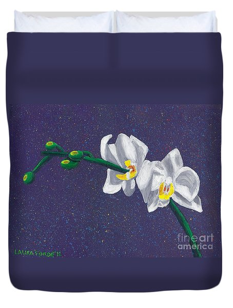 White Orchids On Dark Blue Duvet Cover by Laura Forde