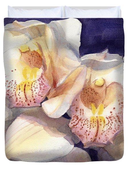 White Orchids Watercolor Duvet Cover