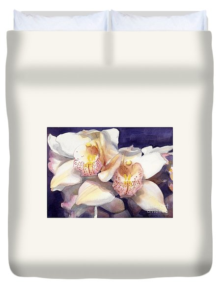 White Orchids Watercolor Duvet Cover