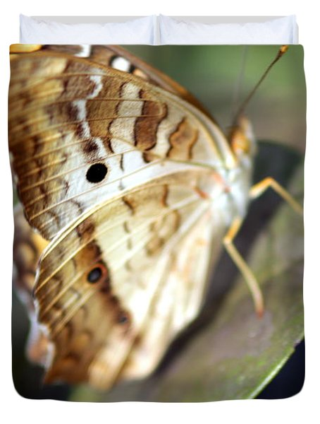 Duvet Cover featuring the photograph White Peacock Butterfly by Greg Allore
