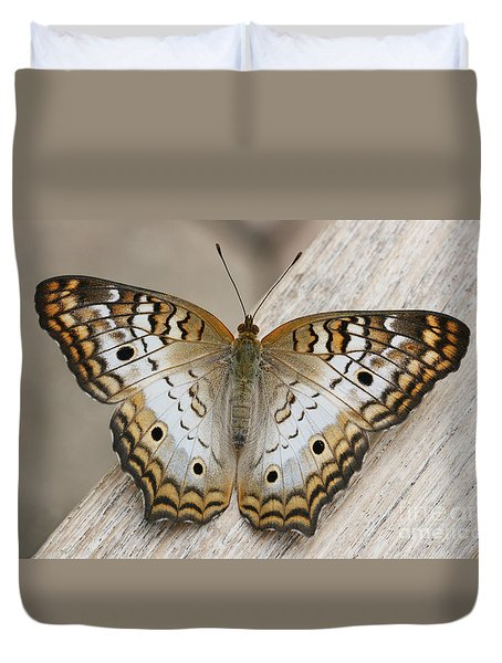 White Peacock Butterfly Duvet Cover by Judy Whitton