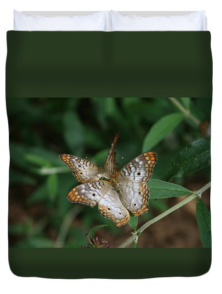 White Peacock Butterflies Duvet Cover
