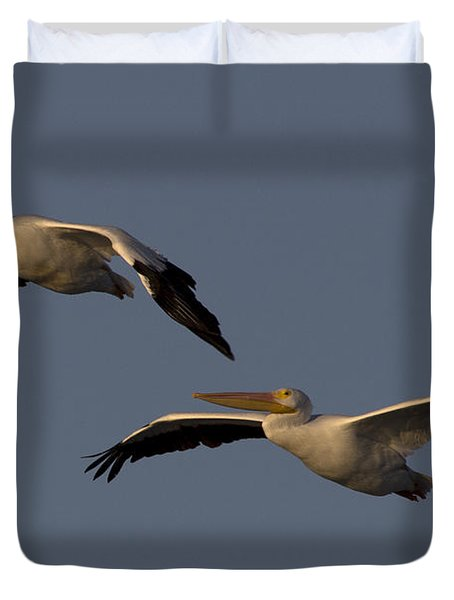 Duvet Cover featuring the photograph White Pelican Photograph by Meg Rousher