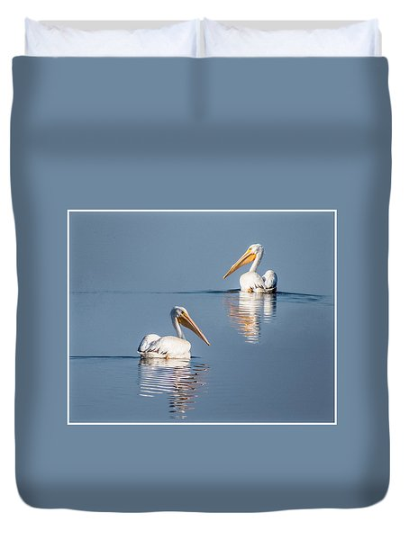 White Pelicans Duvet Cover by Patti Deters