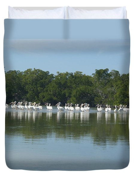 Duvet Cover featuring the photograph White Pelicans by Robert Nickologianis
