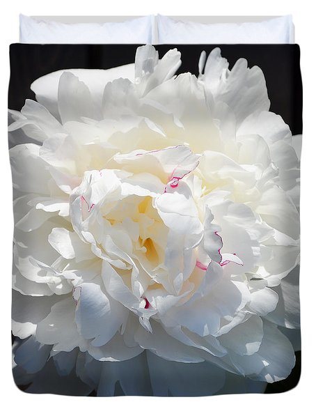 White Peony Duvet Cover by Tine Nordbred