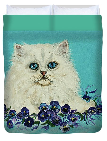 Duvet Cover featuring the painting White Persian In Pansy Patch Original Forsale by Bob and Nadine Johnston