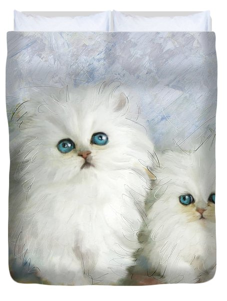 White Persian Kittens  Duvet Cover