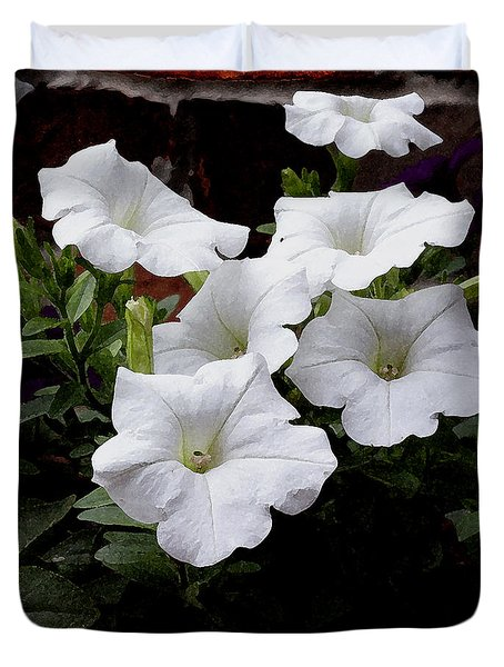 White Petunia Blooms Duvet Cover