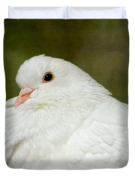 White Pigeon Duvet Cover by Peggy Collins