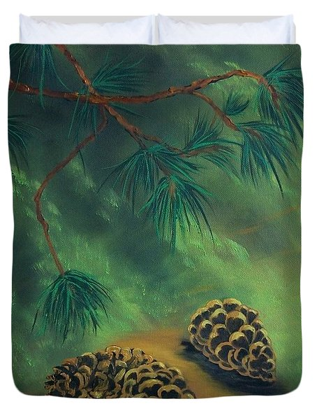 White Pine  And Cones Duvet Cover