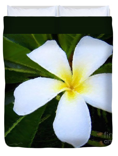 Duvet Cover featuring the mixed media White Plumeria by Anthony Fishburne
