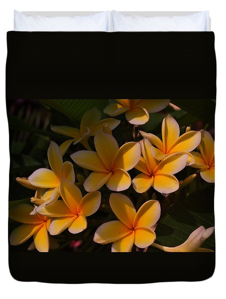 Duvet Cover featuring the photograph White Plumeria by Miguel Winterpacht