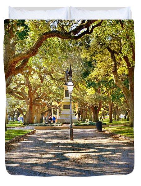 White Point Gardens At Battery Park Charleston Sc Hdr Duvet Cover