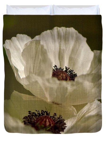 White Poppies Duvet Cover