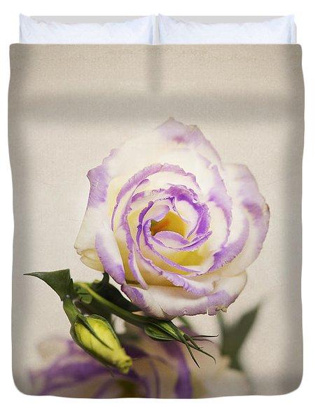 White Purple Lisianthus Duvet Cover