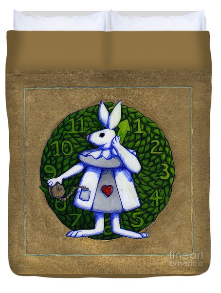 Duvet Cover featuring the mixed media White Rabbit Wonderland by Donna Huntriss