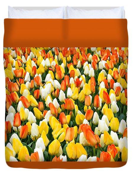 White Orange And Yellow Tulips Duvet Cover by Menachem Ganon