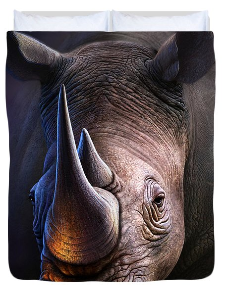 White Rhino Duvet Cover