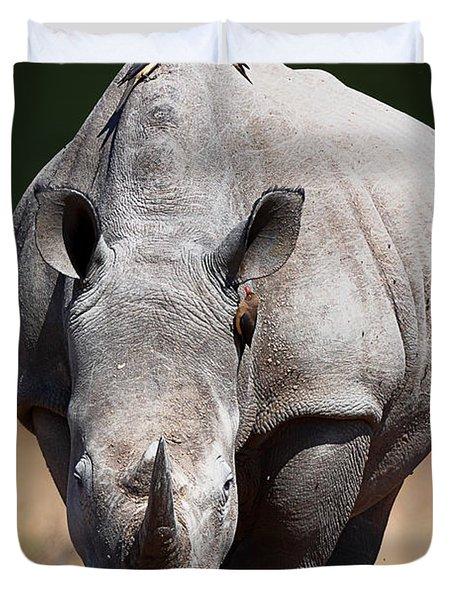 White Rhinoceros  Front View Duvet Cover