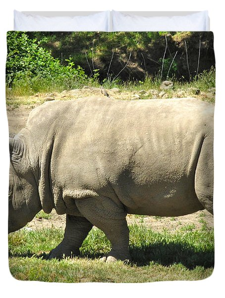 White Rhinoceros Grazing Duvet Cover