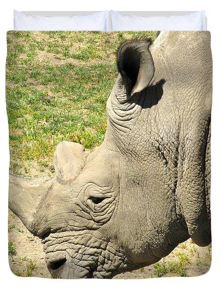White Rhinoceros Portrait Duvet Cover by CML Brown