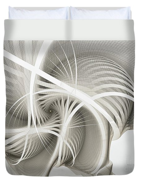 White Ribbons Spiral Duvet Cover