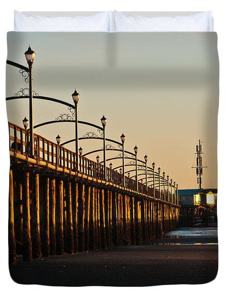 White Rock Pier Duvet Cover by Sabine Edrissi