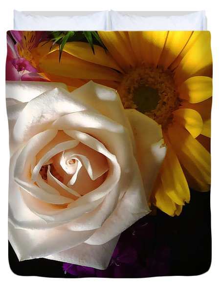Duvet Cover featuring the photograph White Rose by Meghan at FireBonnet Art
