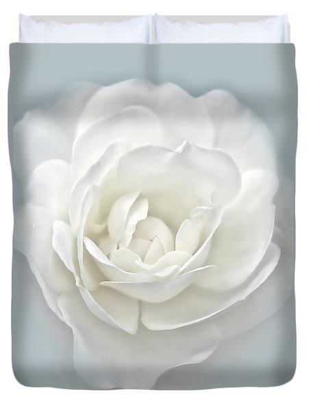 White Rose Flower Silver Blue Duvet Cover