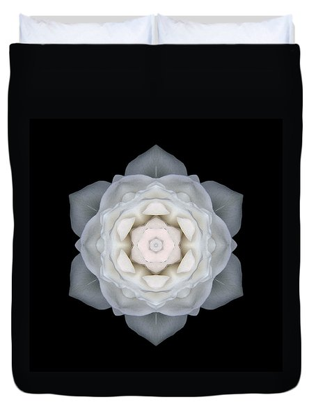 White Rose I Flower Mandala Duvet Cover