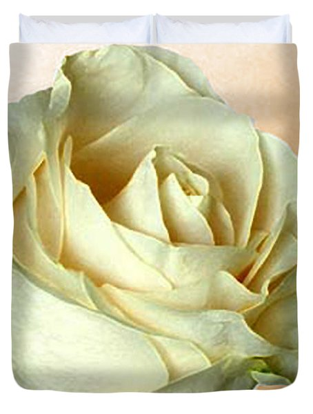 Duvet Cover featuring the photograph White Rose On Sepia by Nina Silver