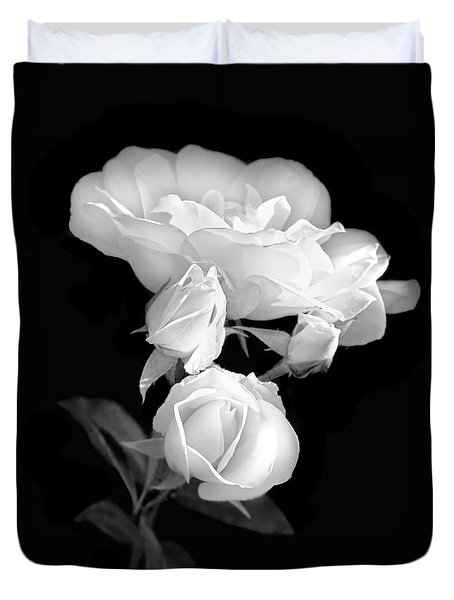 White Roses In The Moonlight Black And White Duvet Cover