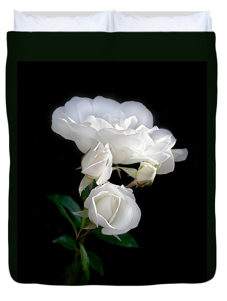 White Roses In The Moonlight Duvet Cover