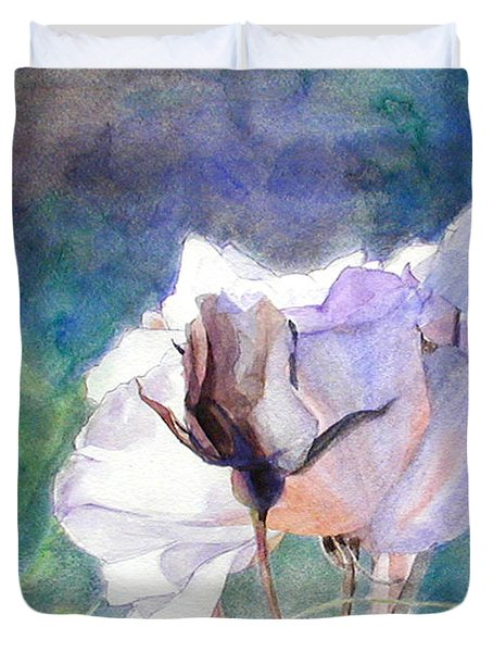 White Roses In The Shade Duvet Cover