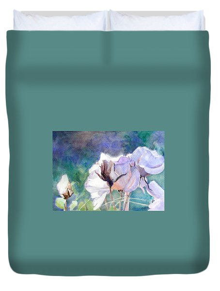 Duvet Cover featuring the painting White Roses In The Shade by Greta Corens