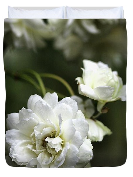 Duvet Cover featuring the photograph White Roses by Joy Watson