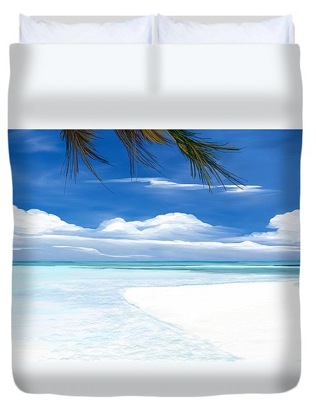 Duvet Cover featuring the digital art White Sand And Turquoise Sea by Anthony Fishburne