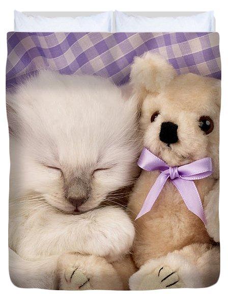 White Sleeping Cat Duvet Cover by Greg Cuddiford