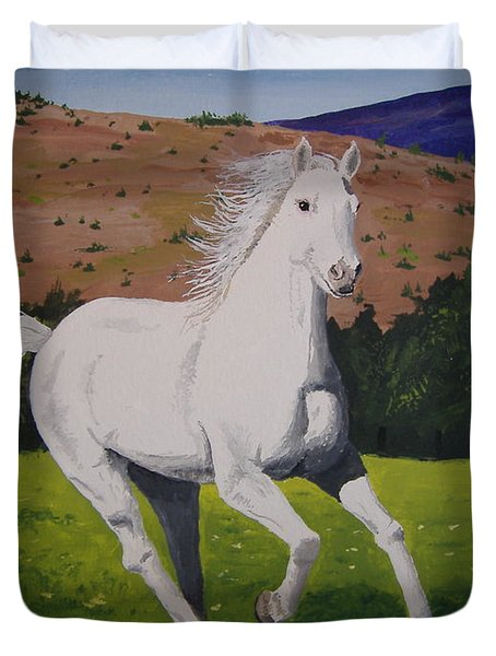 Duvet Cover featuring the painting White Stallion by Norm Starks