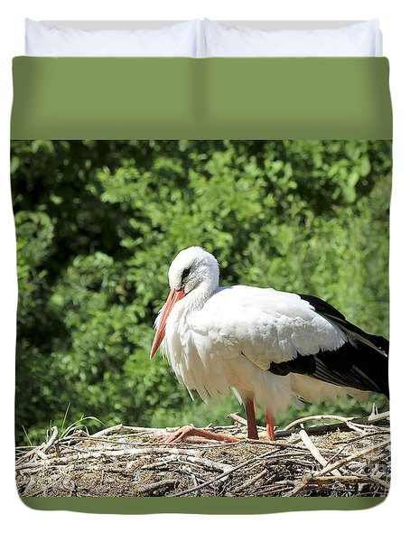 Duvet Cover featuring the photograph White Stork  by Teresa Zieba