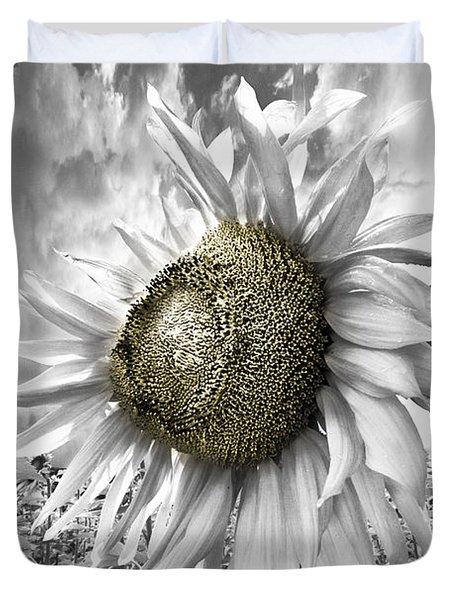White Sunflower Duvet Cover by Debra and Dave Vanderlaan